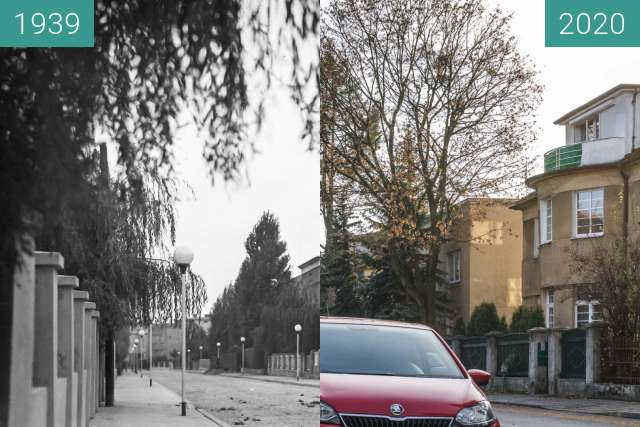 Before-and-after picture of Ulica Ostroroga between 1939 and 2020-Nov-21