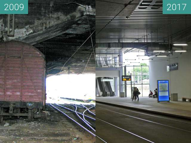 Before-and-after picture of Rondo Kaponiera Poznań. Stacja tramwajowa PST. between 2009 and 2017