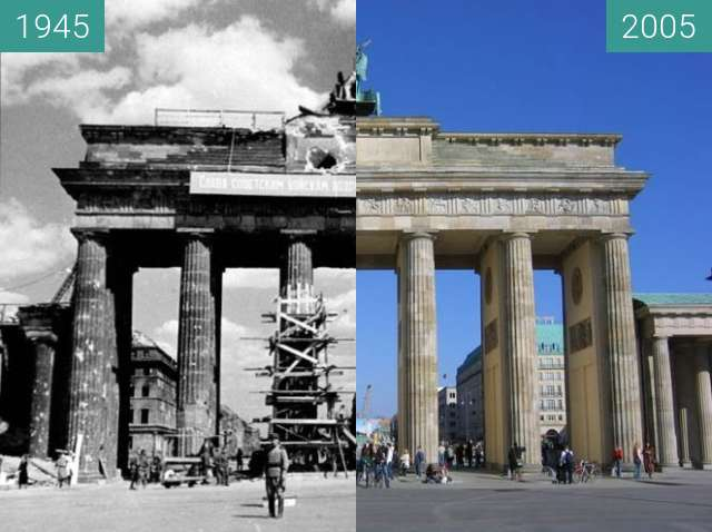 Before-and-after picture of Brandenburger Tor 1945/2005 between 1945 and 2005