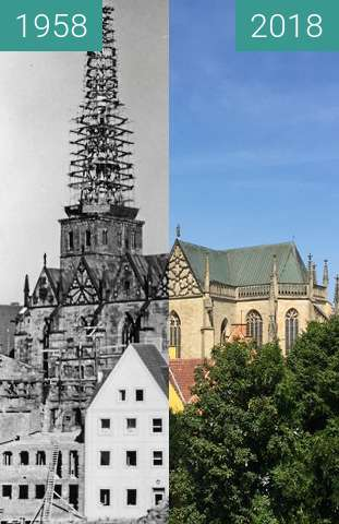 Before-and-after picture of Marienkirche between 1958 and 2018-Aug-02