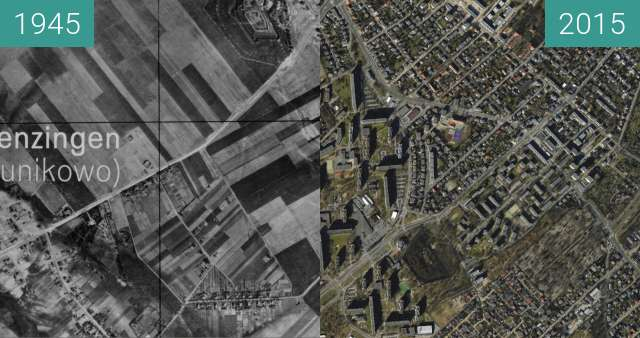Before-and-after picture of Grunwald between 1945 and 2015