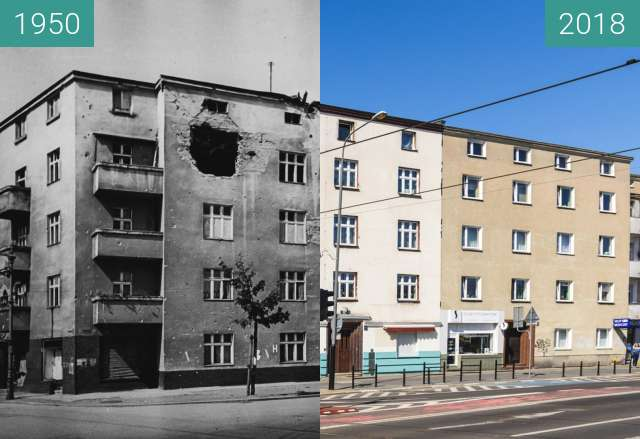 Before-and-after picture of Ulica Krakowska between 1950 and 2018