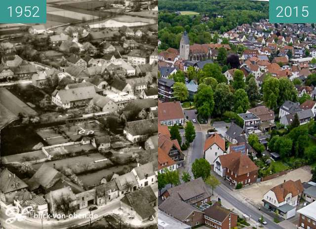 Before-and-after picture of Bad Laer between 1952 and 2015