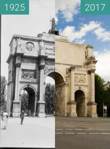 Before-and-after picture of Siegestor München between 1925 and 2017-Aug-05
