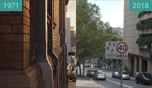 Before-and-after picture of Albert Street, Sydney between 1971 and 2018