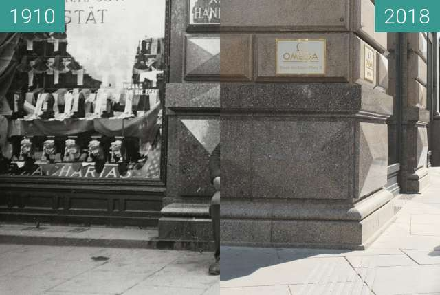 Before-and-after picture of Dienstmänner vor dem Palais Equitable between 1910 and 2018-Apr-30