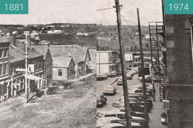 Before-and-after picture of 1881 and 1974 Belfast, Maine between 1881 and 1974