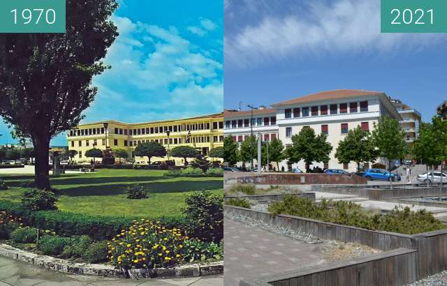 Before-and-after picture of Κεντρική Πλατεία between 1970 and 2021-Jul-03