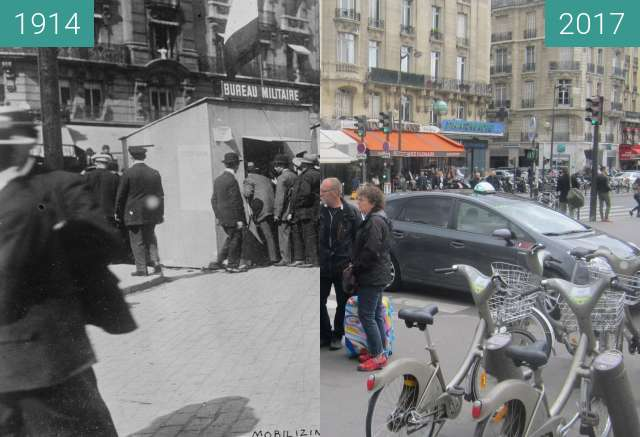 Before-and-after picture of Boulevard Diderot (WWI) between 1914 and 2017-May-01