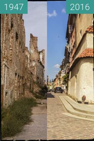 Vorher-Nachher-Bild von Warsaw, Piwna Street zwischen 1947 und 2016