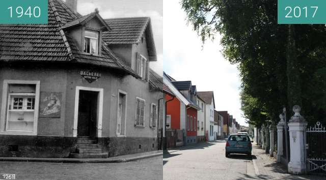 Before-and-after picture of Marienstraße 1, 76744 Maximiliansau between 1940 and 2017-Sep-03