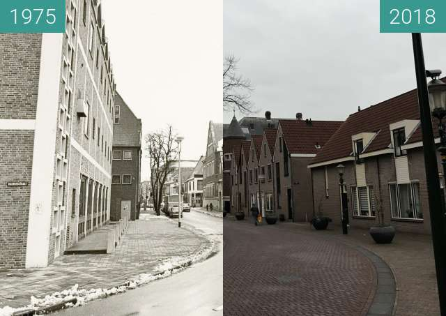 Before-and-after picture of The street 'De Heul' in Alkmaar between 1975-Nov-04 and 2018-Nov-07