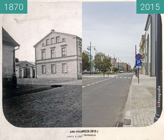 Before-and-after picture of Krabler's House, Dzielna (Narutowicza) Street between 1870 and 2015