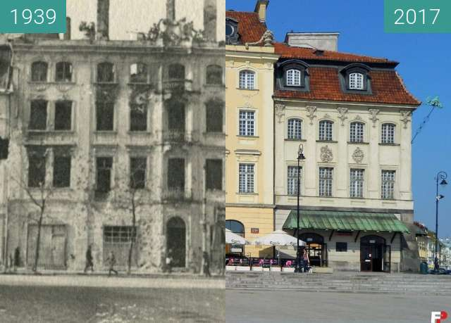 Before-and-after picture of Palaces in Royal Street, Warsaw between 1939 and 2017