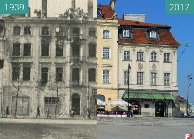 Vorher-Nachher-Bild von Palaces in Royal Street, Warsaw zwischen 1939 und 2017