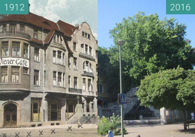 Before-and-after picture of Herrenteichswall between 1912 and 2016-Aug-31