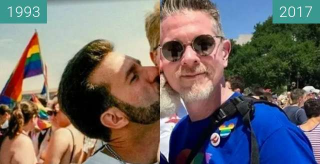 Before-and-after picture of N. Cardello & K. English beim March on Washington between 1993 and 2017