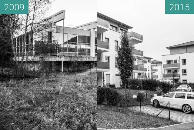 "Before-and-after picture of Zeit im Bild   47°34'32"" N 10°41'57"" E  Hallenbad between 2009-Nov-18 and 2015-Oct-13"