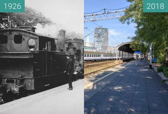 Before-and-after picture of Dworzec Letni between 1926 and 2018