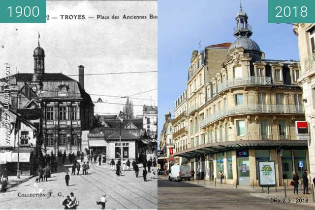 Before-and-after picture of TROYES - Place de l'hotel de ville between 1900 and 2018-Feb-16