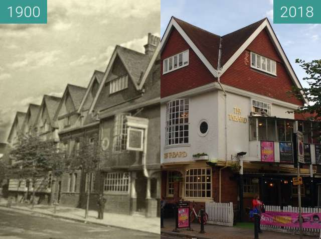Before-and-after picture of Tabard pub chiswick between 1900 and 2018