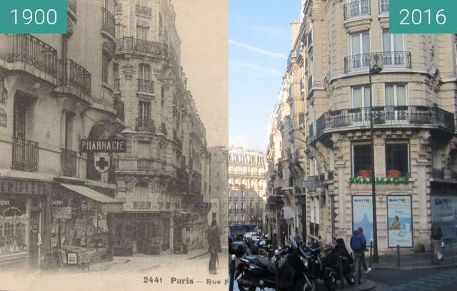 Before-and-after picture of Rue Félix-Ziem between 1900 and 2016-Dec-11