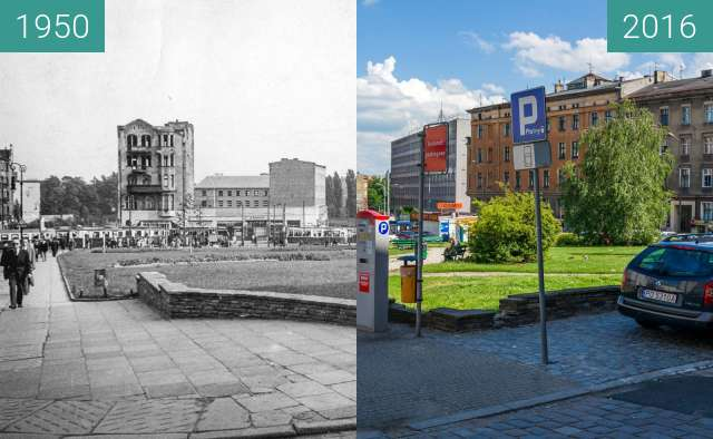 Before-and-after picture of Corner of the Saint Martin and Wysoka streets between 1950 and 2016