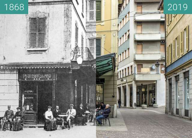 Before-and-after picture of Cantù, via Matteotti between 1868 and 2019-Feb-15