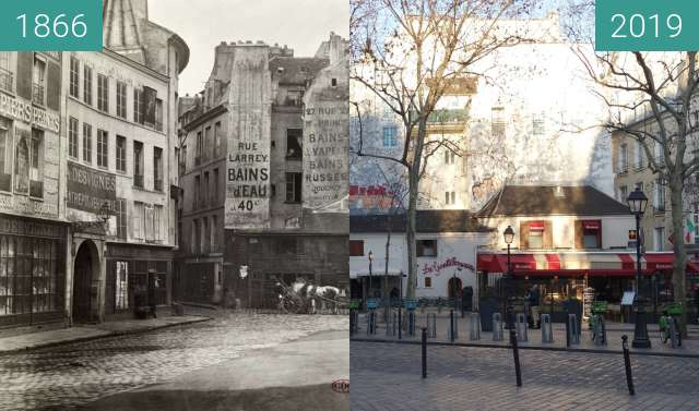Before-and-after picture of Place St.-André-des-Arts between 1866 and 2019-Feb-16