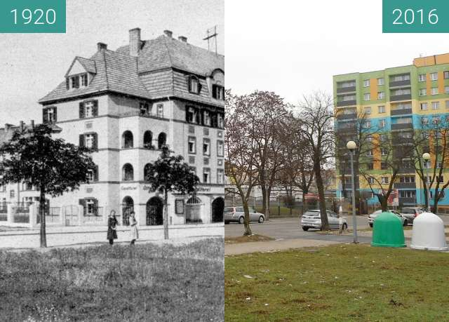 Before-and-after picture of Bahnhofstrasse between 1920 and 2016