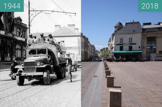 Before-and-after picture of Cherbourg 1944 - Normandy between 1944-Jul-17 and 2018-May-04