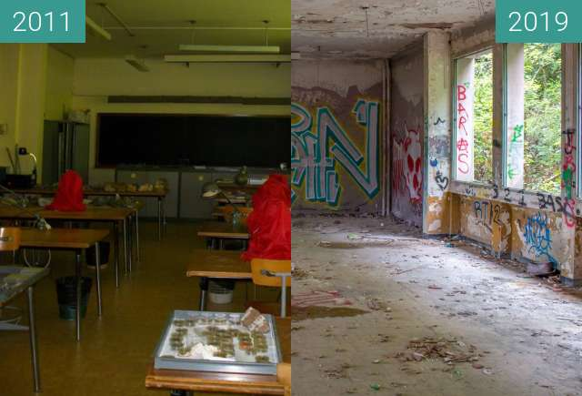 Before-and-after picture of Salle microscopes between 2011-May-06 and 2019-Aug-12