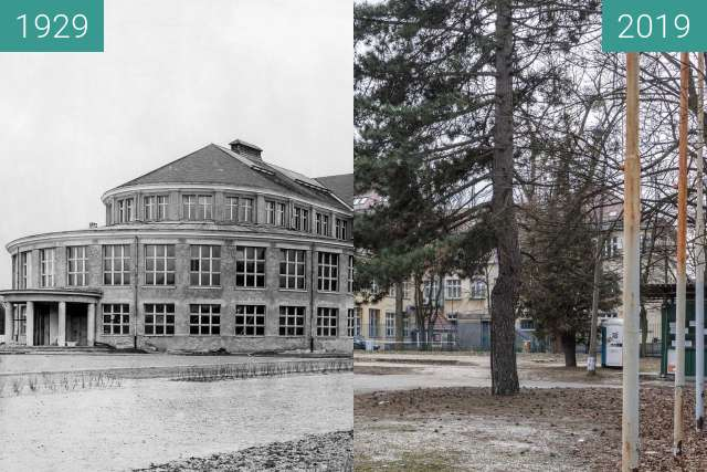 Before-and-after picture of Ulica Śniadeckich between 1929 and 2019-Mar-07
