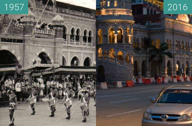 Before-and-after picture of Independence Parade on Merdeka Square between 1957-Sep-01 and 2016-Jul-22