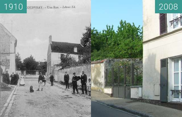 Before-and-after picture of Rue aux chevaux between 1910 and 2008-May-19