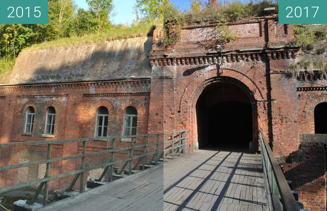 Before-and-after picture of Fort 3 Twierdza Poznań between 2015-Oct-01 and 2017-Oct-04