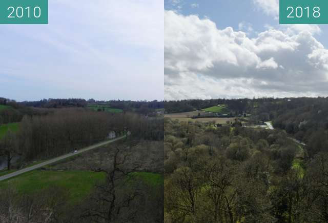 Before-and-after picture of Vallée de la Rance à Léhon between 2010-Apr-06 and 2018-Apr-04