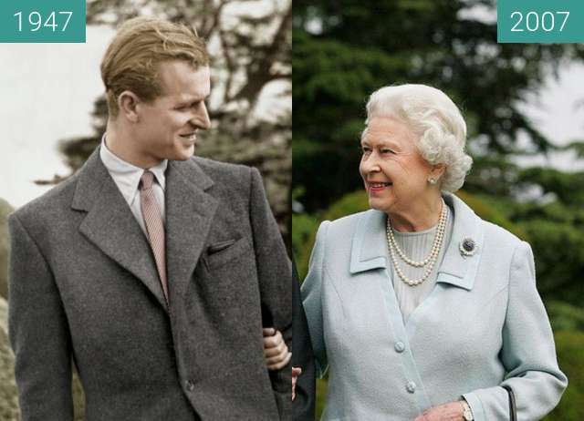 Before-and-after picture of Queen Elizabeth II. and Prince Philip between 11/1947 and 11/2007