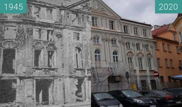 Before-and-after picture of Pałac Wesslów between 1945 and 2020