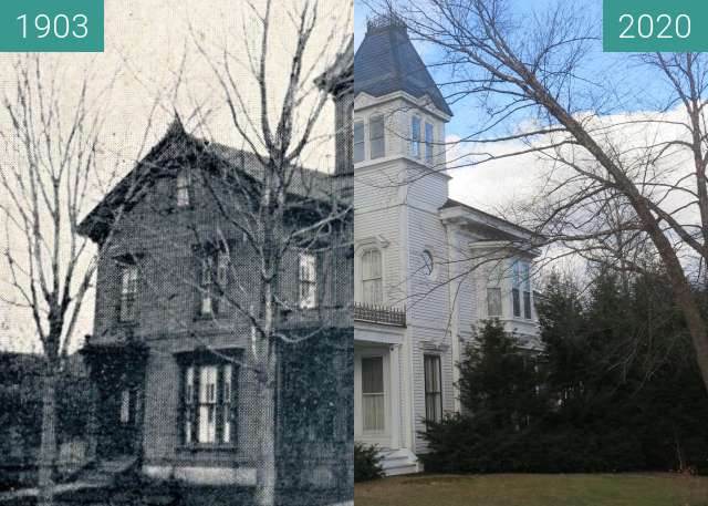Before-and-after picture of The Charles P. Hazeltine house, Belfast, Maine between 1903 and 2020
