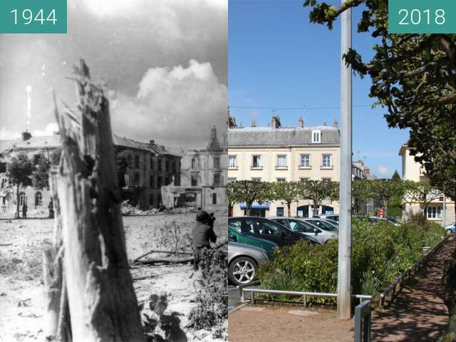 Before-and-after picture of Argentan 1944 - Normandy between 1944-Aug-20 and 2018-May-01