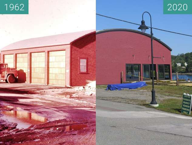 Before-and-after picture of Consumers Fuel Company Garage Belfast, Maine between 1962 and 2020-Sep-04