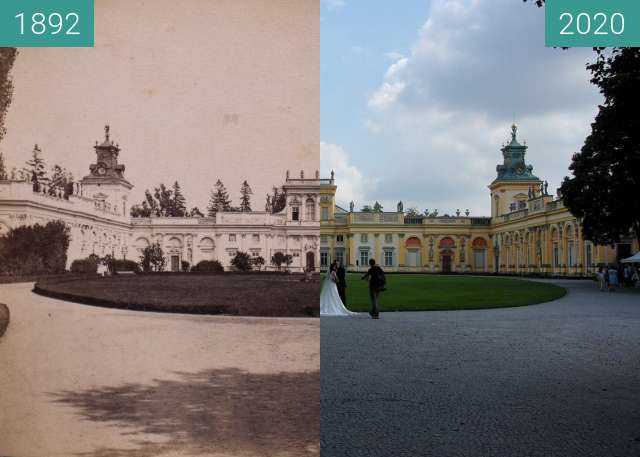 Before-and-after picture of Pałac Wilanowski between 1892 and 2020