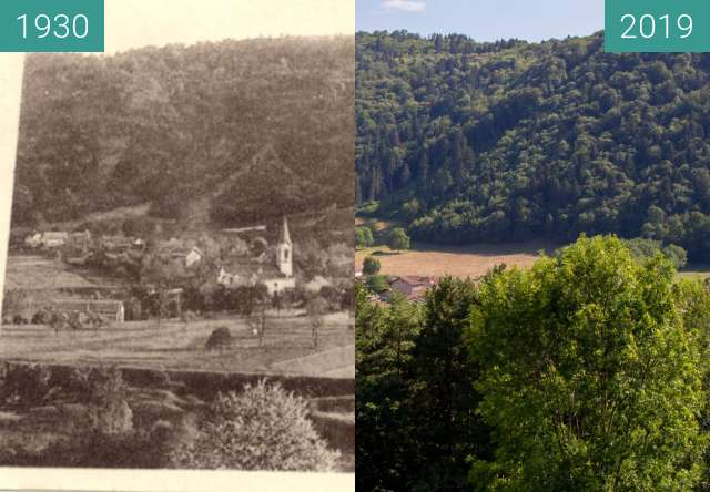 Before-and-after picture of village between 1930 and 2019-Jul-12