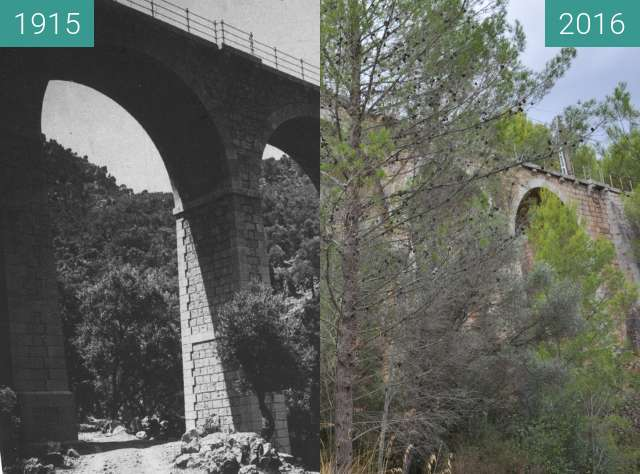 Before-and-after picture of Viaducte de Monreals between 1915 and 2016-Sep-20