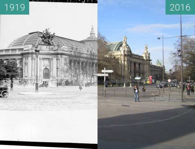 Before-and-after picture of Grand Palais between 1919 and 2016-Jan-04