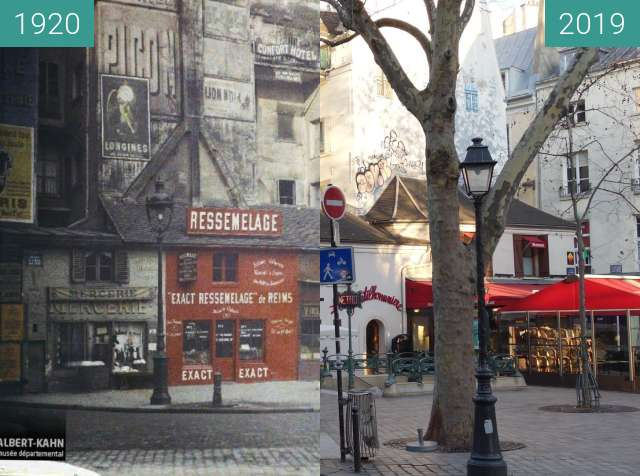 Before-and-after picture of Place St.-André-des-Arts between 10/1920 and 2019-Feb-16
