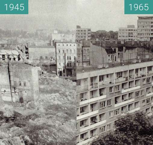 Before-and-after picture of Ulica Marszałka Józefa Piłsudskiego between 1945 and 1965
