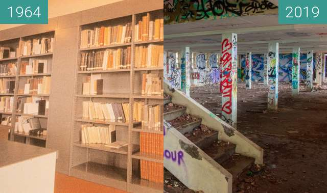 Before-and-after picture of Institut Dolomieu - La Bibliothèque between 1964 and 2019-Oct-31