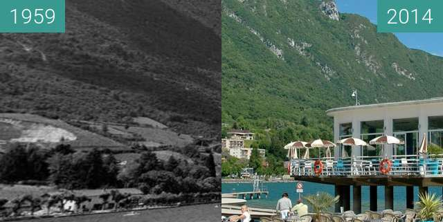 Before-and-after picture of La Frégate restaurant between 1959 and 2014-May-24